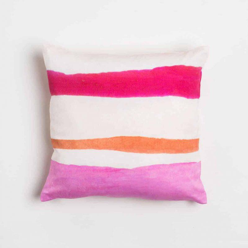 Luxury organic pink and orange watercolor stripe square pillow