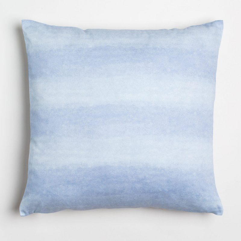 Luxury organic periwinkle blue watercolor wash solid square pillow