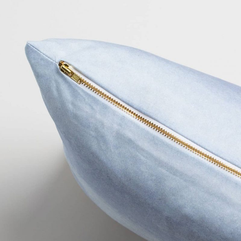 Luxury organic periwinkle blue watercolor wash solid square pillow with brass zipper