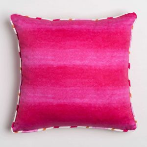 Luxury organic pink watercolor wash solid square pillow with contrast piping