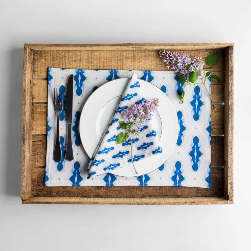 Luxury organic blue diamond placemat place setting