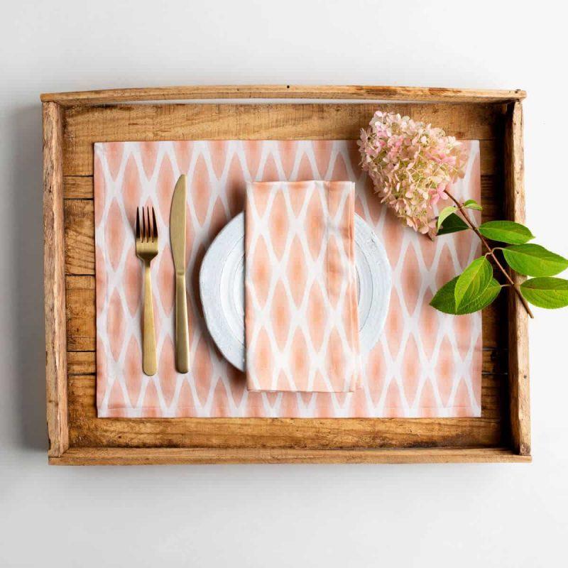 Luxury organic rust diamond lattice placemat place setting in barn wood tray with matching napkin and hydrangea