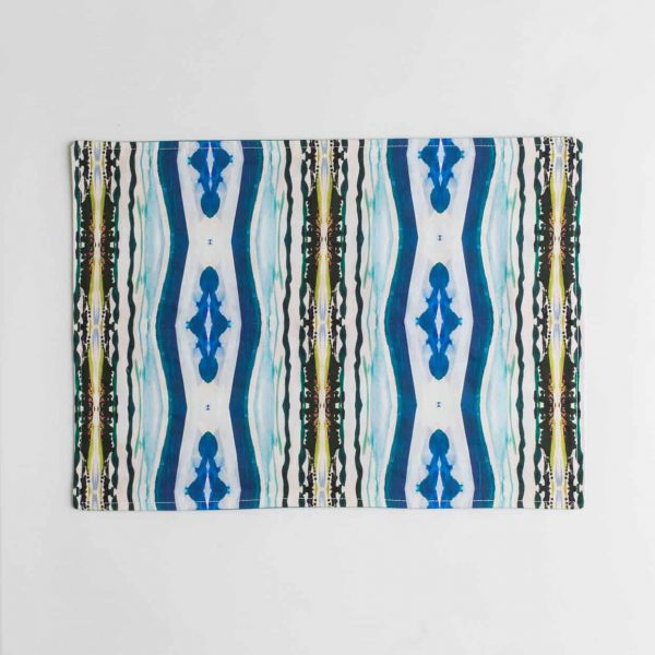 Luxury organic abstract watercolor stripe placemat face