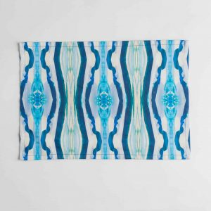 Luxury organic turquoise mirrored diamond placemat face