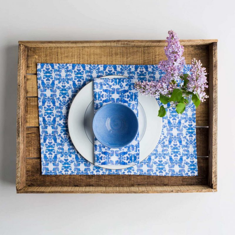 Luxury organic abstract tessellating floral blue placemat place setting