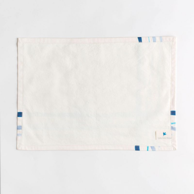 Luxury organic corner placed blue watercolor plaid placemat back