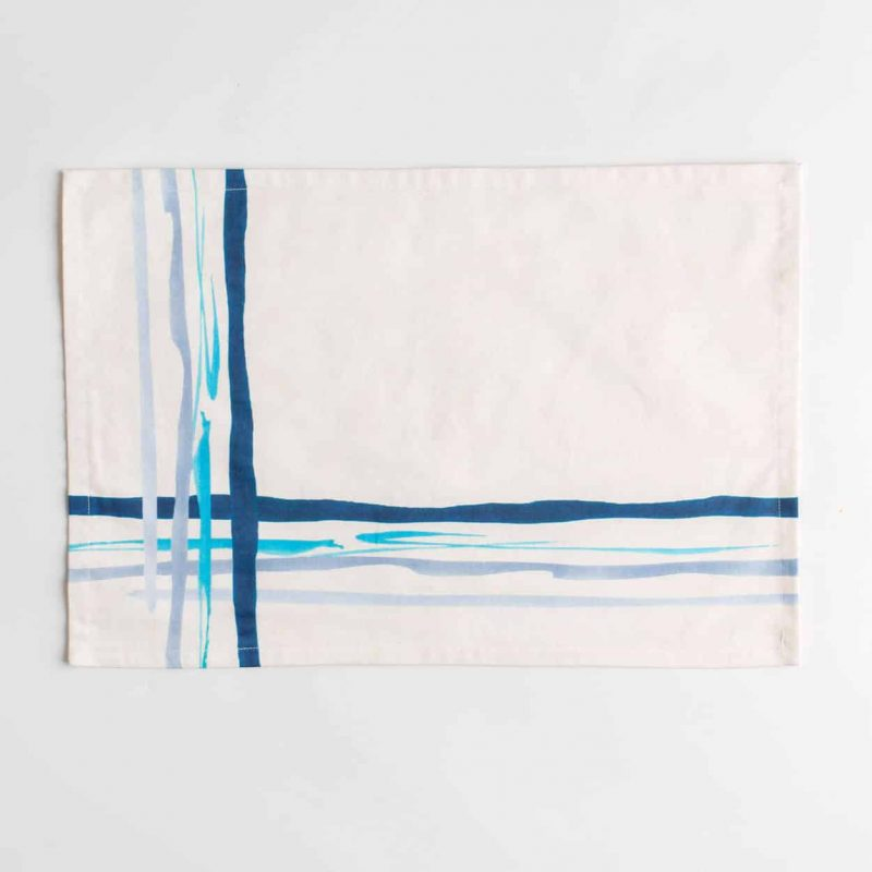 Luxury organic corner placed blue watercolor plaid placemat face