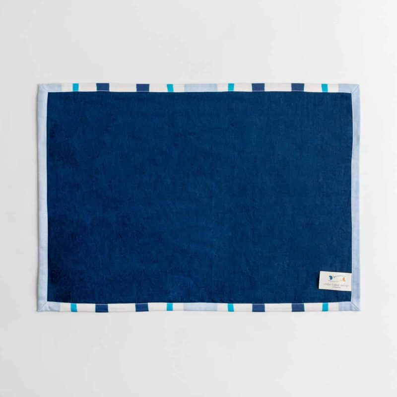 Luxury organic navy and blue mirrored watercolor stripe placemat back