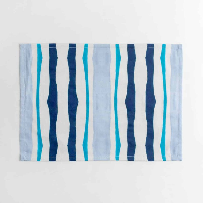 Luxury organic navy and blue mirrored watercolor stripe placemat face