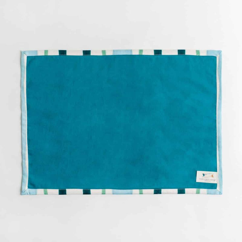 Luxury organic teal and green mirrored watercolor stripe placemat back