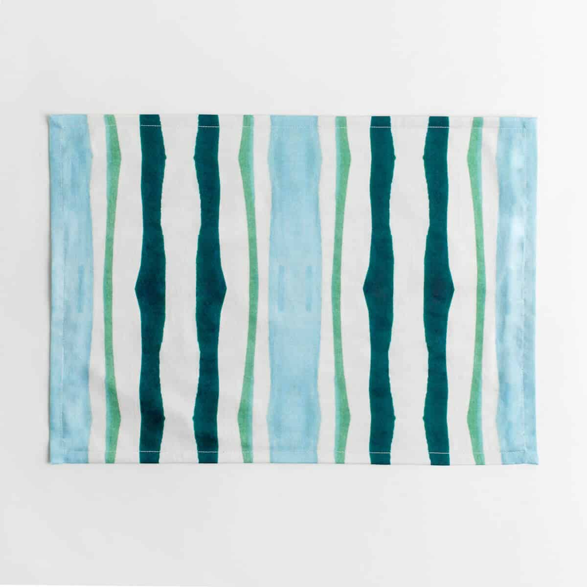 Luxury organic teal and green mirrored watercolor stripe placemat face