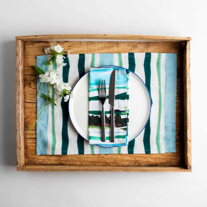 Luxury organic teal and green mirrored watercolor stripe placemat place setting with white flowers