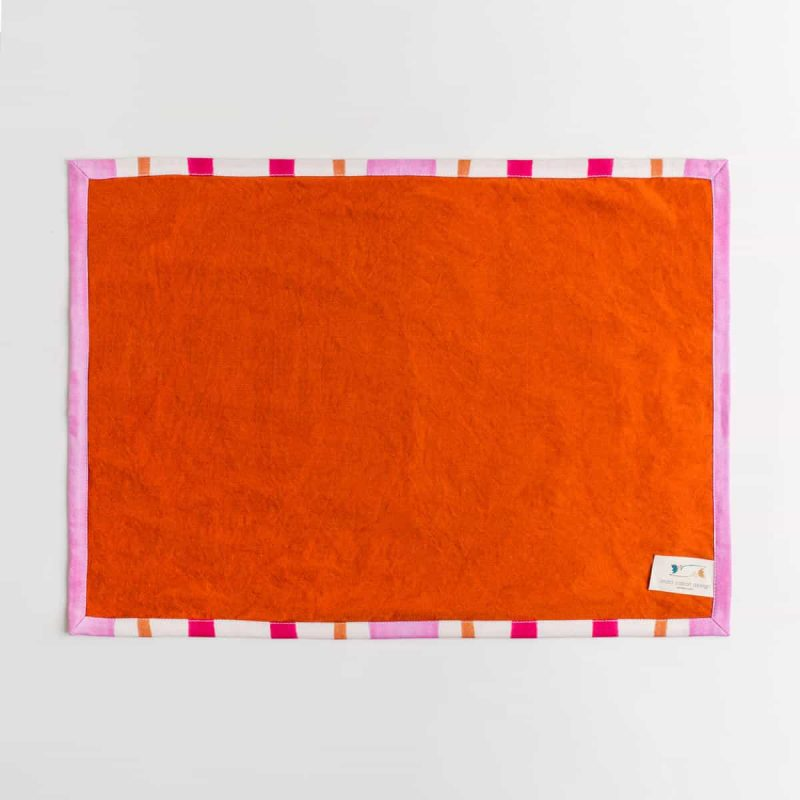 Luxury organic pink and orange mirrored watercolor stripe placemat back