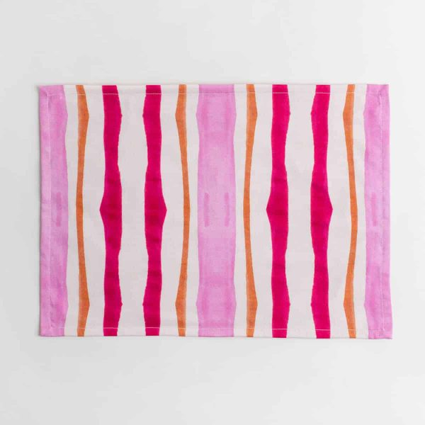 Luxury organic pink and orange mirrored watercolor stripe placemat face