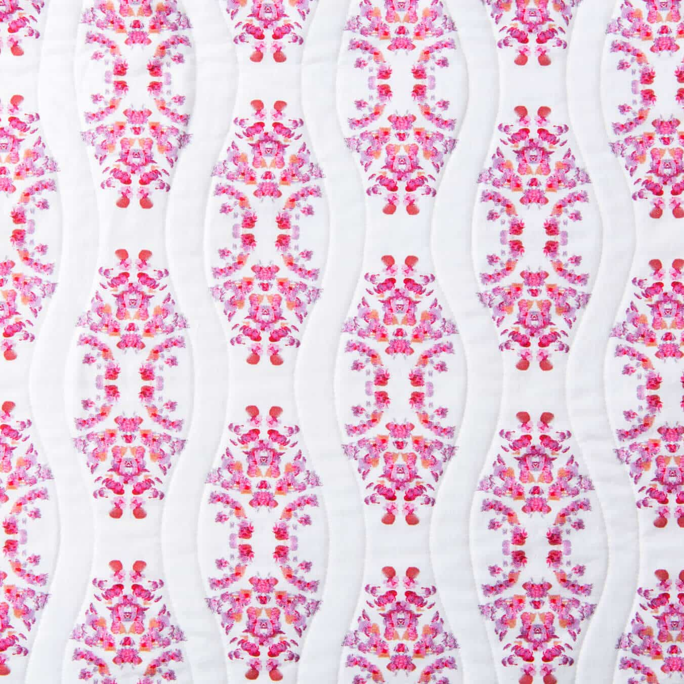 Luxury organic pink abstract geometric quilted coverlet pattern detail