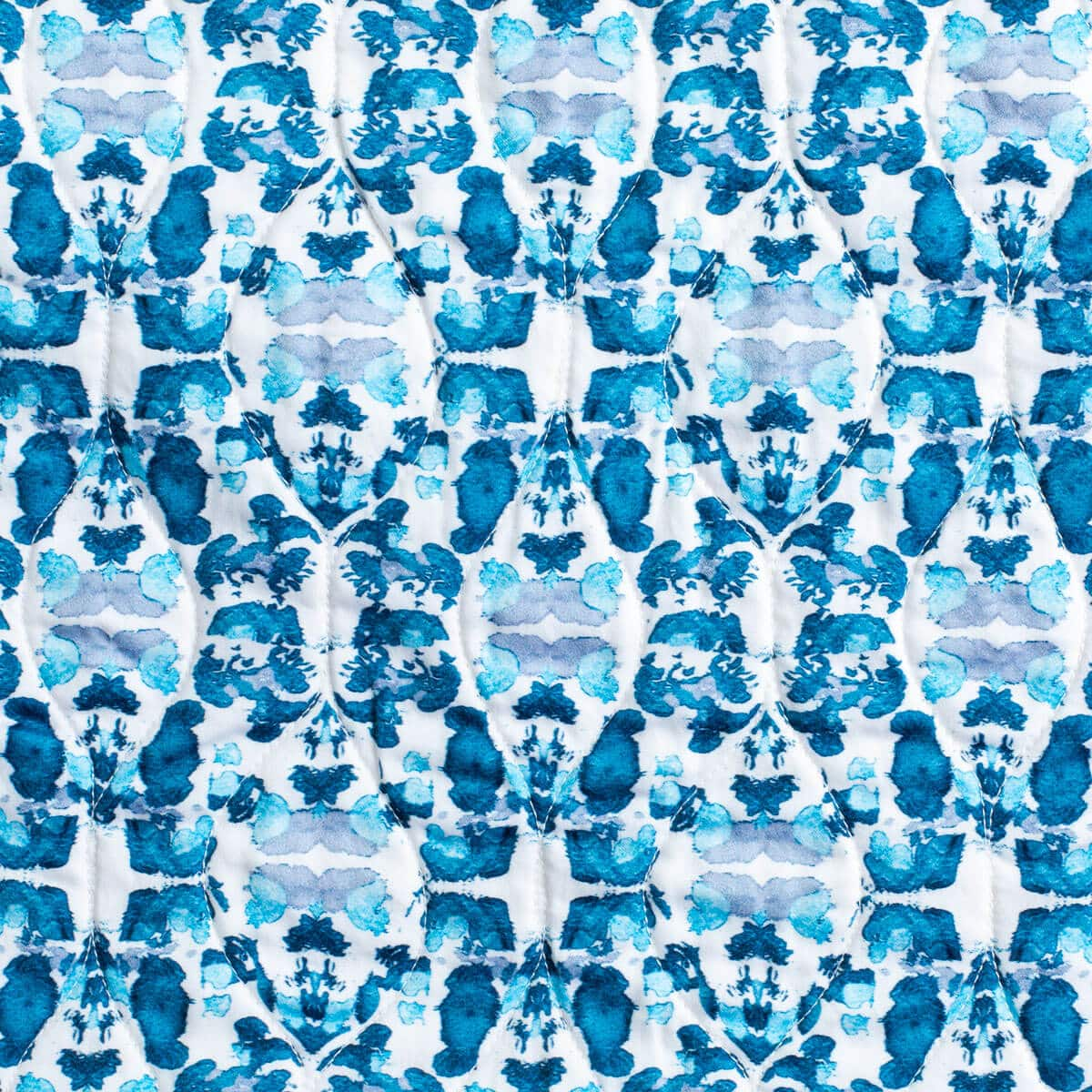 Luxury organic abstract tessellating floral teal quilt pattern detail