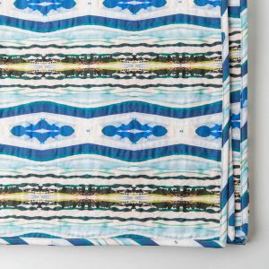Luxury organic abstract watercolor stripe quilted coverlet with binding