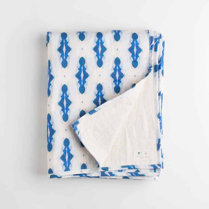 Luxury organic blue diamond quilted coverlet folded over