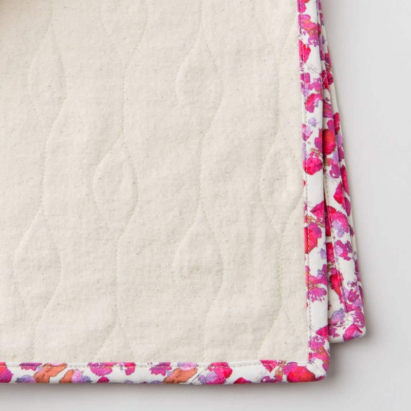 Luxury organic abstract tessellating floral pink quilted coverlet flannel back