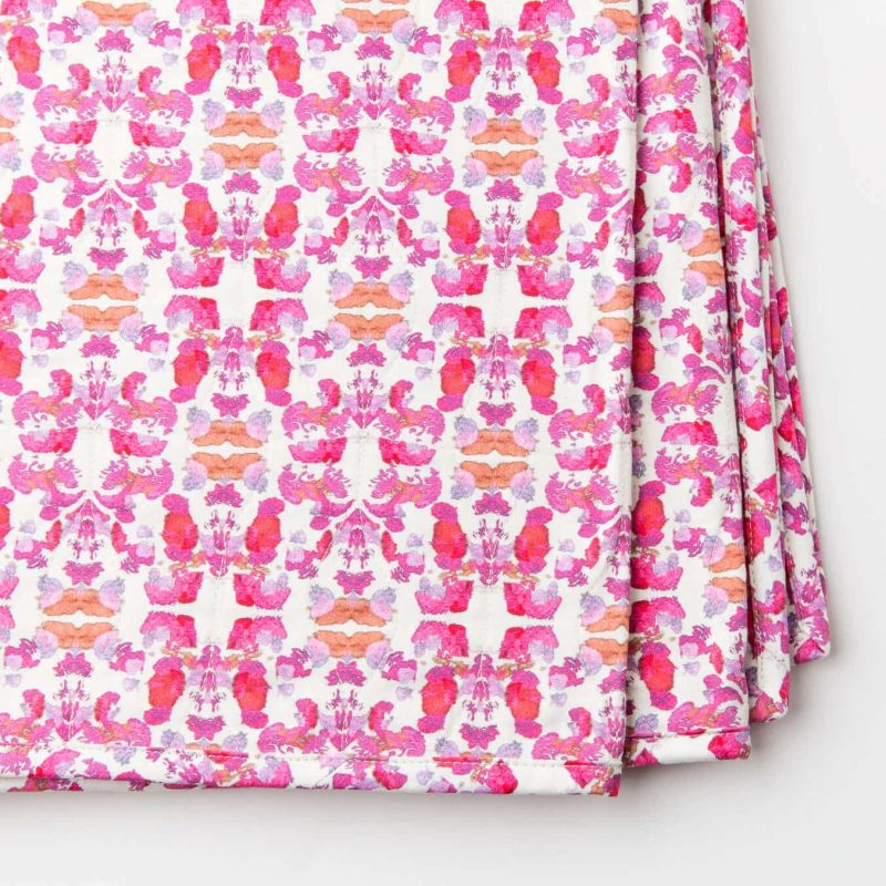 Luxury organic abstract tessellating floral pink quilted coverlet