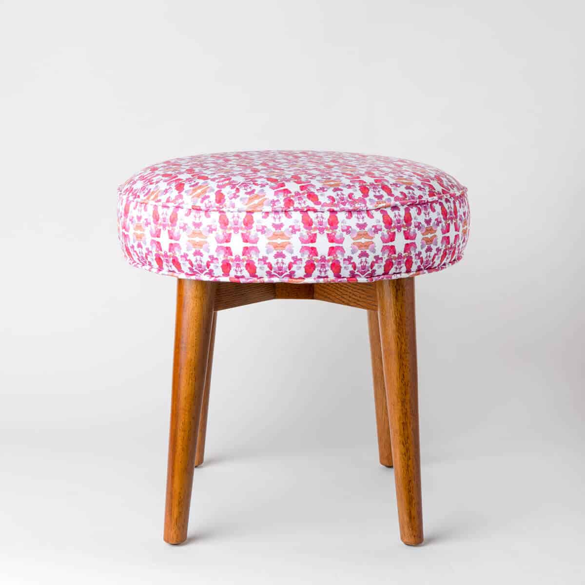 Luxury organic abstract tessellating floral pink upholstered stool