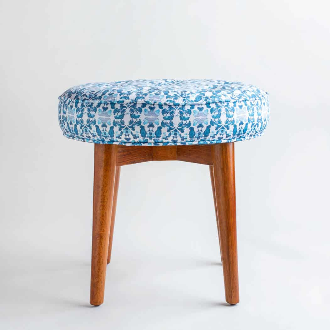 Luxury organic abstract tessellating floral teal upholstered stool