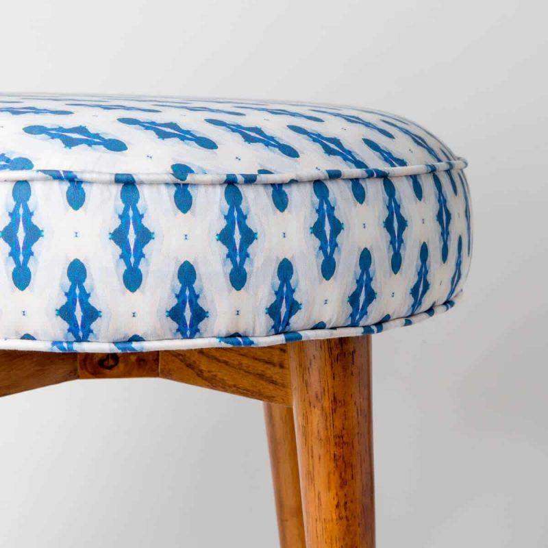 Luxury organic blue mini diamond pattern upholstered stool close up