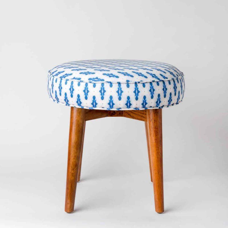 Luxury organic blue mini diamond pattern upholstered stool