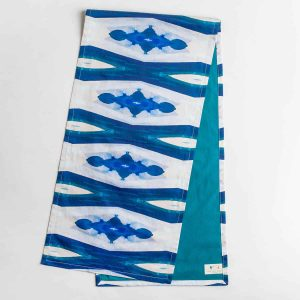 Luxury organic blue ogee diamond pattern table runner
