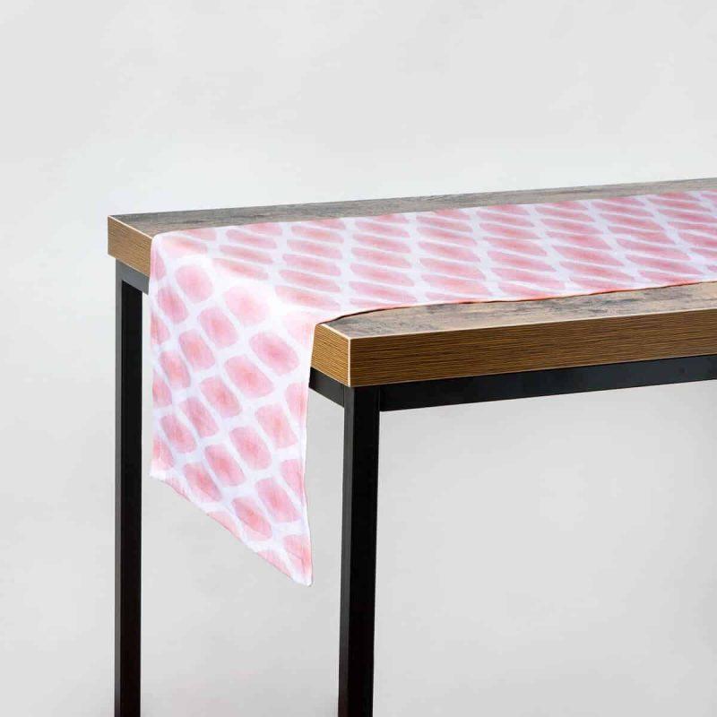 Luxury organic cinnamon diamond lattice table runner hanging off table