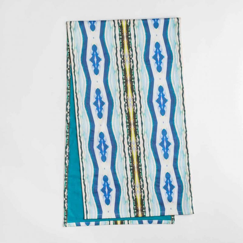 Luxury organic abstract watercolor stripe table runner with teal backing