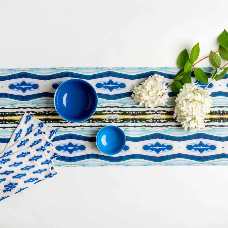 Luxury organic abstract watercolor stripe table runner with napkins, blue bowls and white hydrangeas