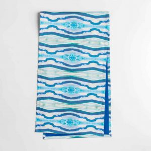 Luxury organic turquoise mirrored diamond table runner