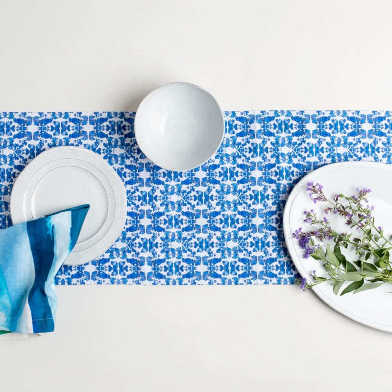 Luxury organic abstract tessellating floral blue table runner styled