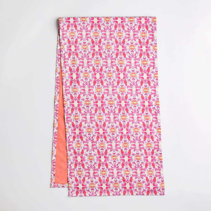 Luxury organic abstract tessellating floral pink table runner