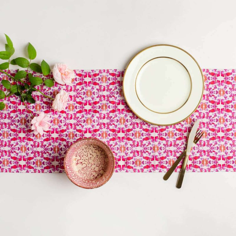 Luxury organic abstract tessellating floral pink table runner styled