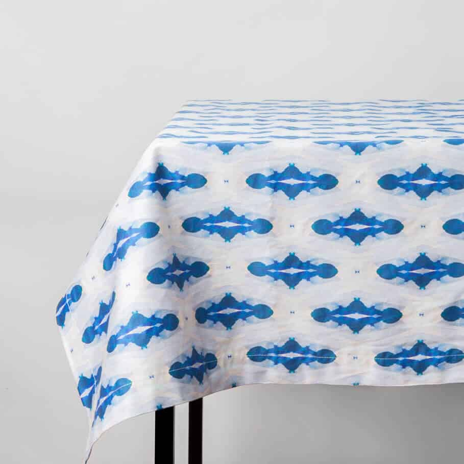 Luxury organic blue diamond tablecloth draped on table