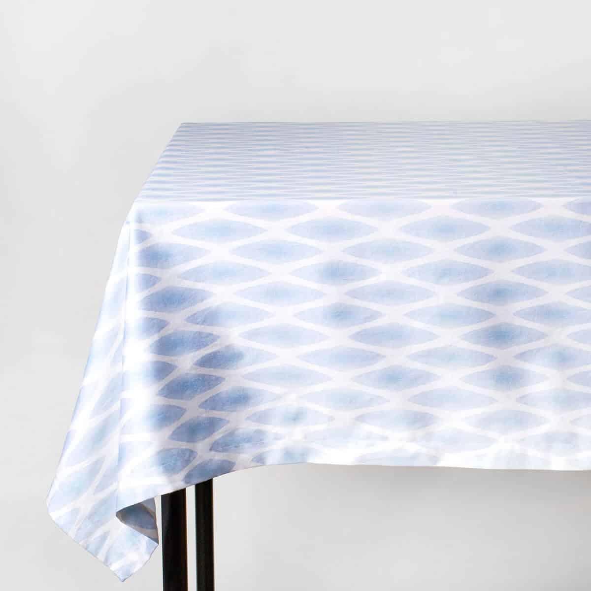Luxury organic periwinkle diamond lattice tablecloth on table