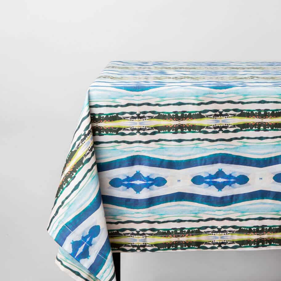 Luxury organic abstract watercolor stripe tablecloth draped on table