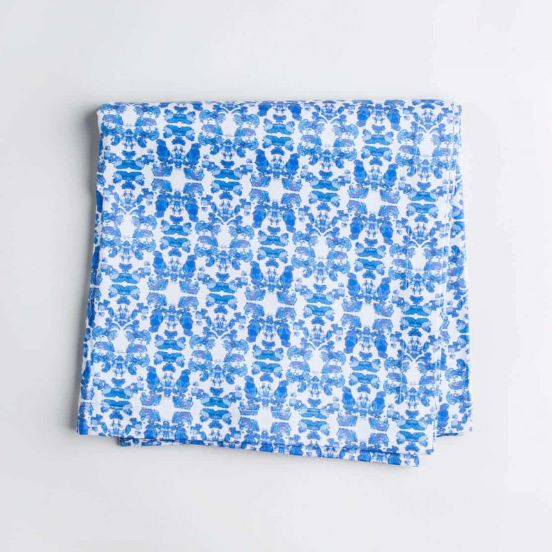 Luxury organic abstract tessellating floral blue tablecloth folded