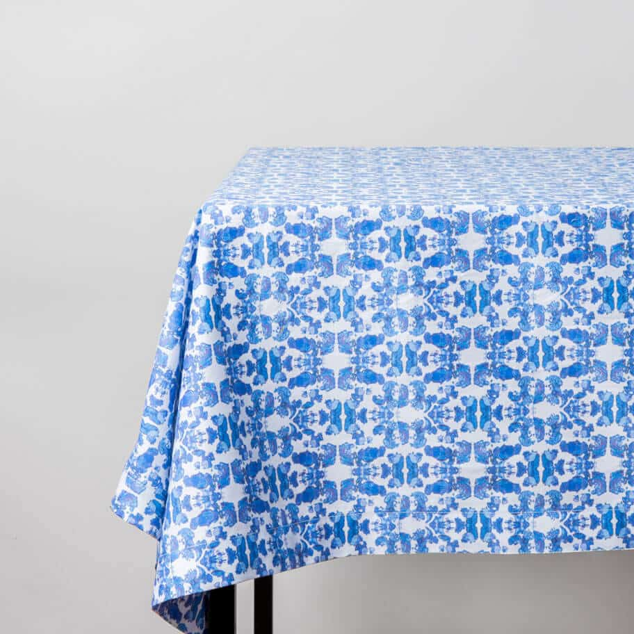 Luxury organic abstract tessellating floral blue tablecloth on table