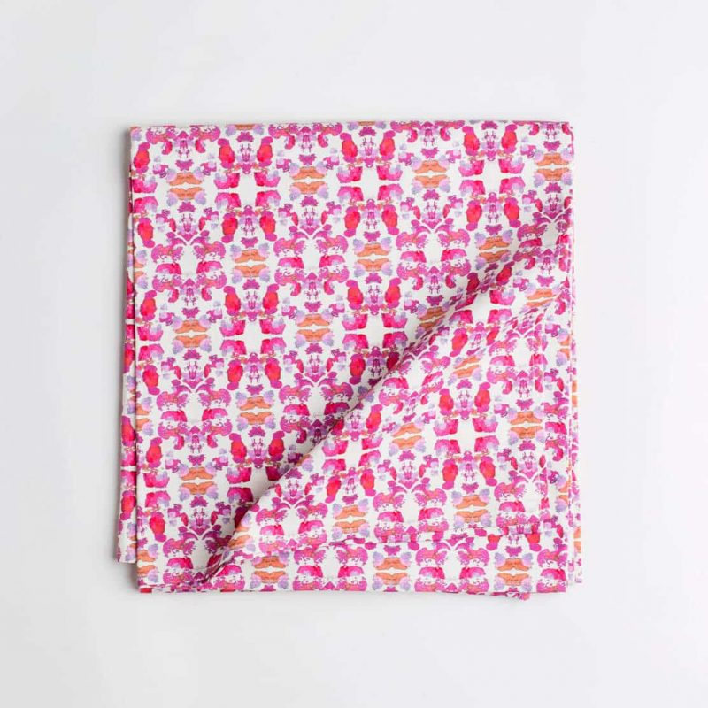 Luxury organic abstract tessellating floral pink tablecloth folded
