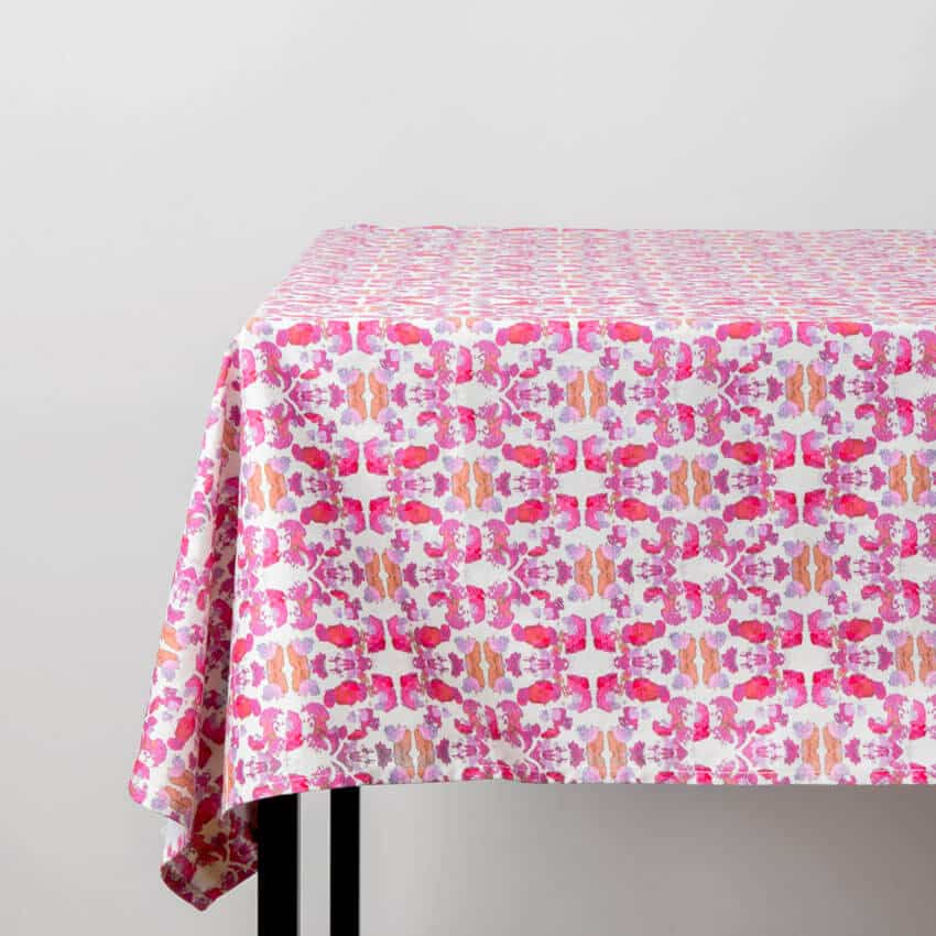 Luxury organic abstract tessellating floral pink tablecloth on table