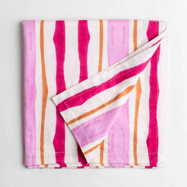 Luxury organic pink and orange mirrored watercolor stripe tablecloth folded