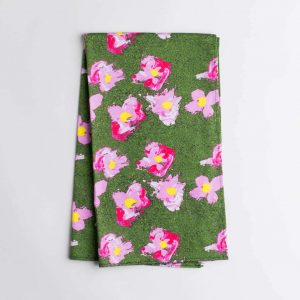 Luxury organic pink and green flower kitchen tea towel folded