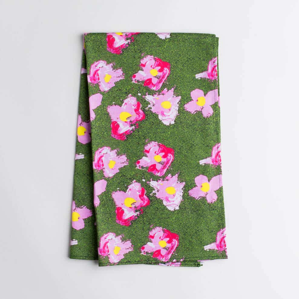 Luxury organic pink and green flower kitchen tea towel folded