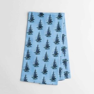 Luxury organic balsam pine tree blue kitchen tea towel