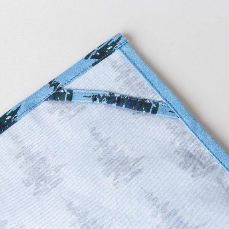 Luxury organic balsam pine tree blue kitchen tea towel hanging loop