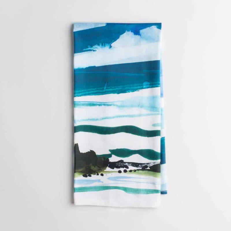 Luxury organic Maine watercolor painting kitchen tea towel