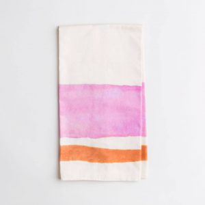 Luxury organic pink and orange watercolor stripe kitchen tea towel